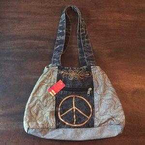 NWT Handmade Peace Sign Boho Purse